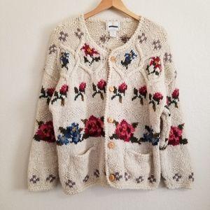VTG Express Hand Knitted Chunky Boho Wool Cardigan